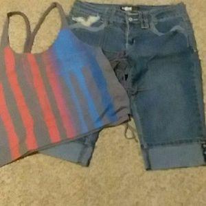 Jean shorts and tank